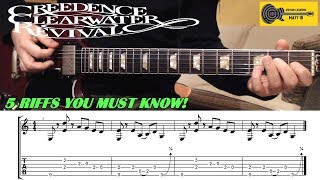 CREEDENCE CLEARWATER REVIVAL Guitar Riffs - Top 5 - with TAB / SHEET