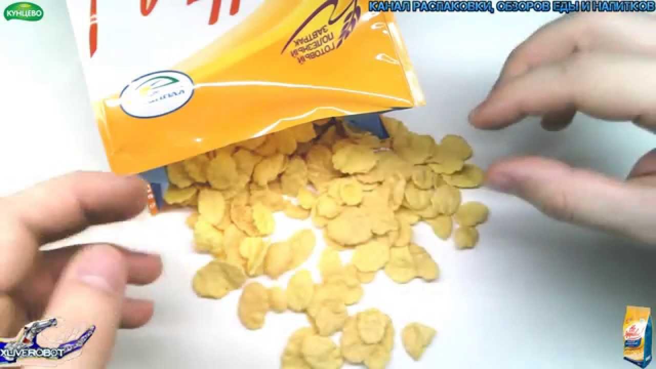 Автоматическая фасовка и упаковка кукурузных палочек в пленку 500 .