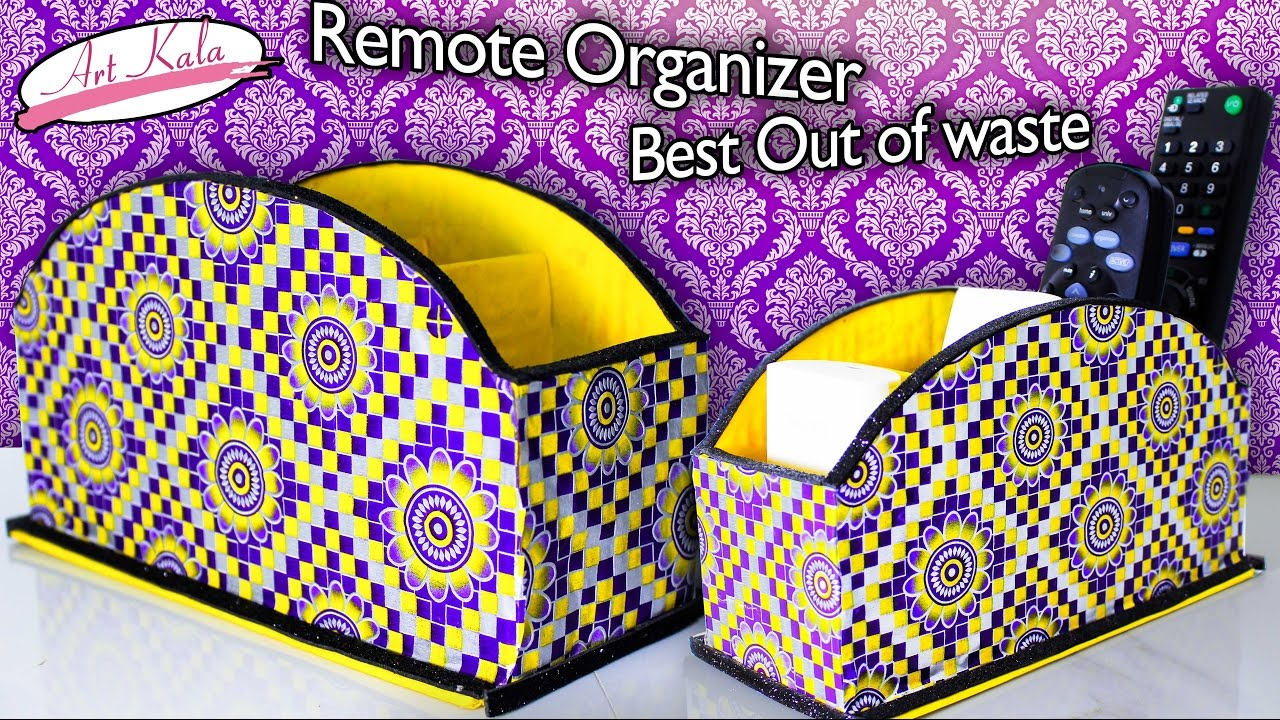 How to make remote holder | Remote organizer | Best out of waste ...