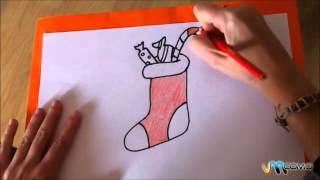 Como desenhar uma meia de natal