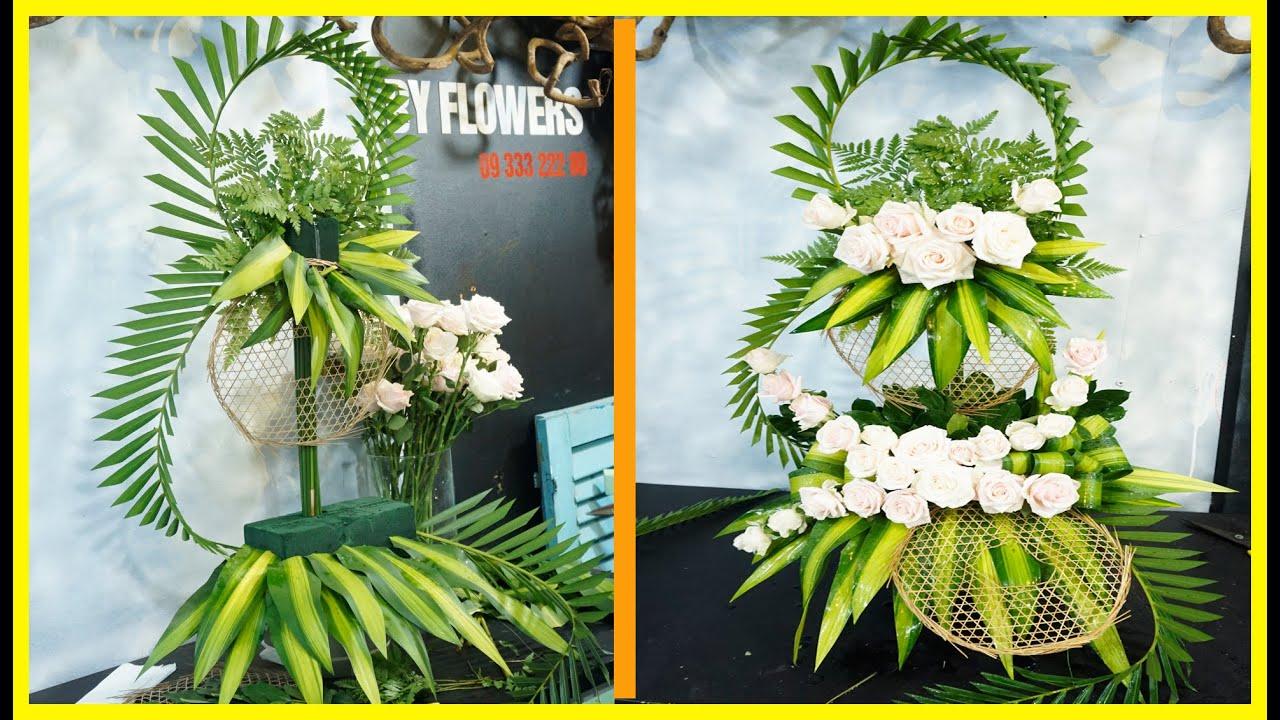 Cách cắm bình hoa HỒNG bàn thờ ngày cưới 2 tầng đẹp | BYFlowers