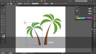Simple palm icon. Tutorial Adobe Illustrator CC for beginners