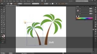 Simple palm icon. Tutorial Adobe Illustrator CC for beginners