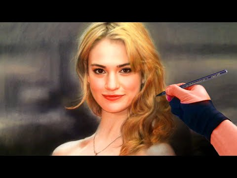 Drawing Cinderella Lily James Color Pastel Youtube