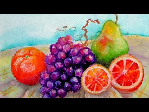 LIVE! Still Live in Watercolor/Grapes, Pear, Oranges!!!