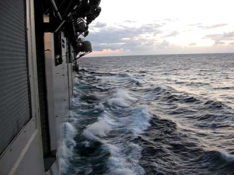 Navy ship goes right over a Blue Whale