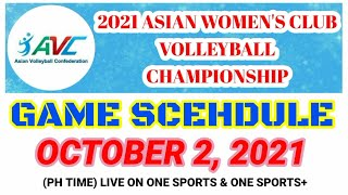 2021 AVC WOMEN'S VOLLEYBALL CHAMPIONSHIP GAME SCHEDULE TODAY | OCTOBER 2, 2021 | SPORTS WORLD
