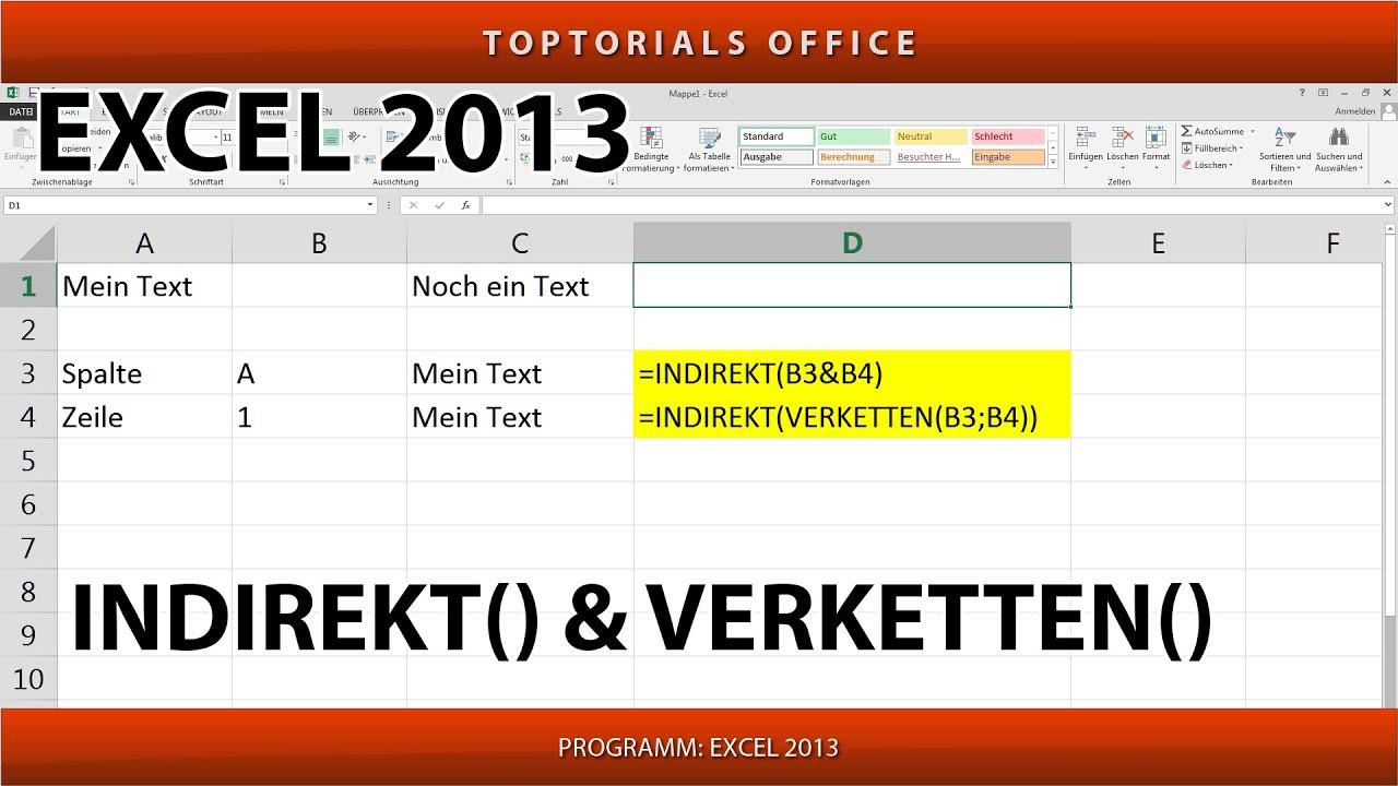 INDIREKT und VERKETTEN ganz einfach(Excel) - YouTube