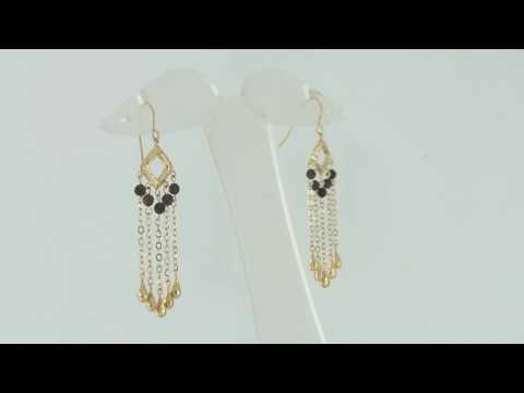 Estate 1.00CT Smoky Quartz Beads 14k Gold Dangle Earrings DGLA Certified