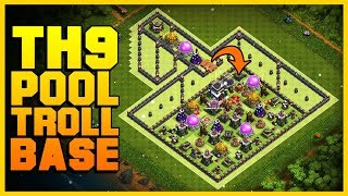 EPIC TH9 Troll Base 2019 | Pool | Funny Noob Trolling Base w/ Replays | Clash of Clans