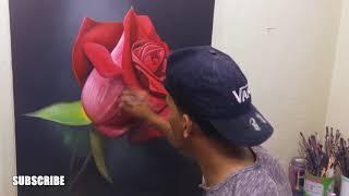 Como pintar una Rosa en Oleo y Acrílico