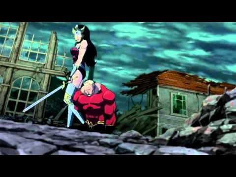 Wonder Woman killing Aquaman from Justice League: The Flashpoint Paradox 2013