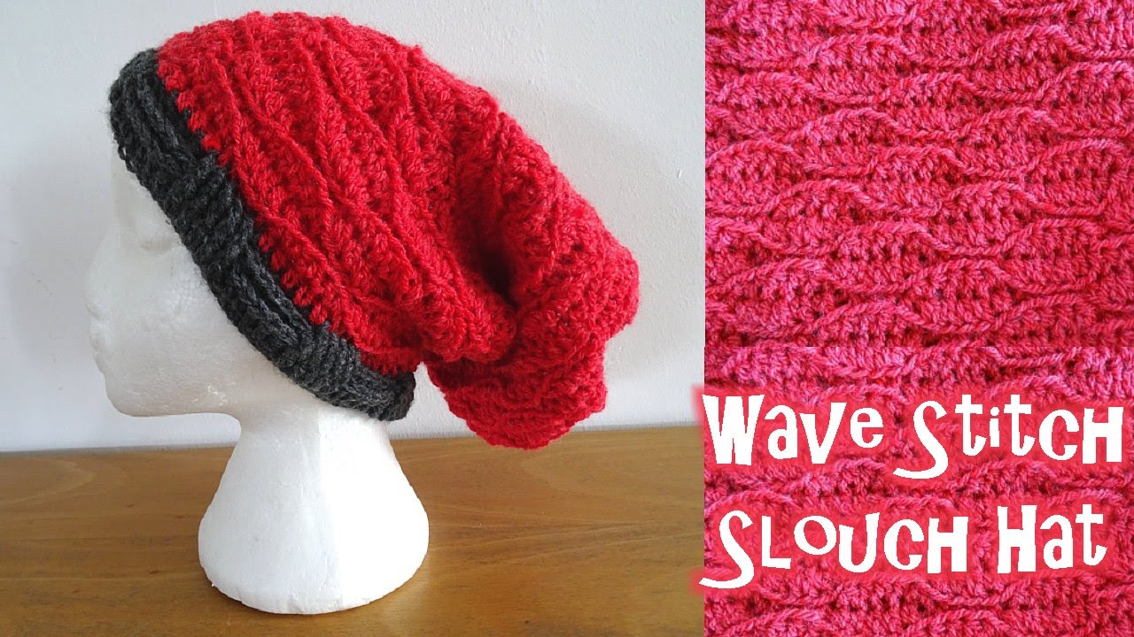 Wave Stitch Slouch Hat - Left Handed Crochet Tutorial - YouTube