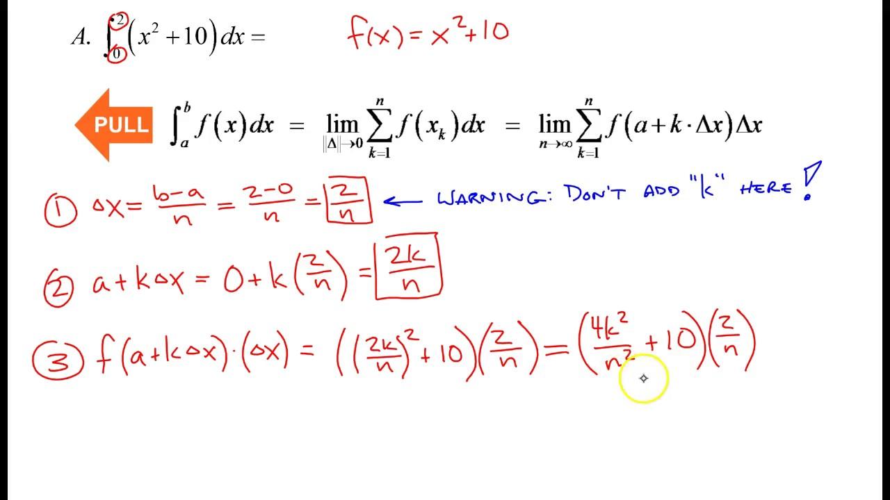 Rewriting a Definite Integral as a Limit of a Riemann Sum ...