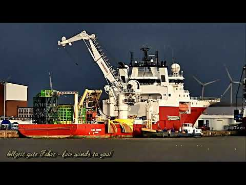 Windparkversorger Kabelleger GLOBAL SYMPHONY offshore cable layer supply tug Emden MGJH7 IMO 9492581