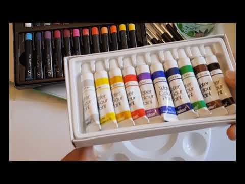 How to use Oil pastels+water color+acrylic  : fun for kids