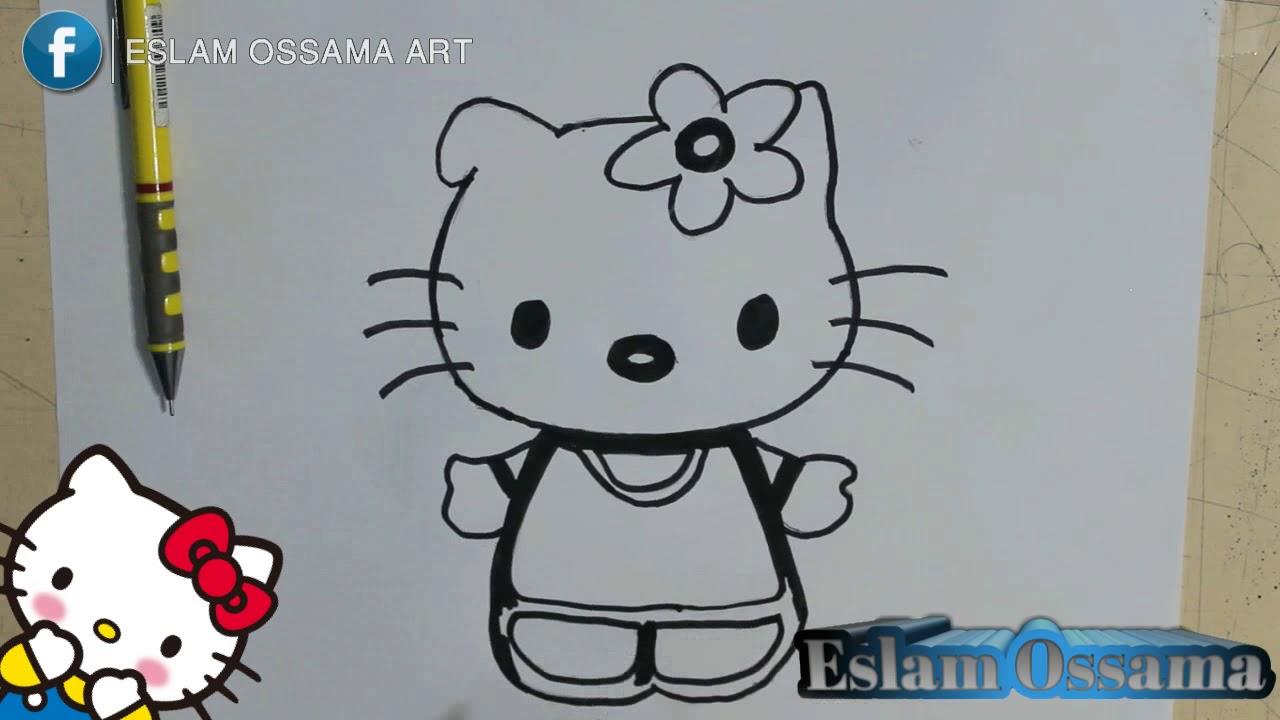 تعليم رسم القطه كيتي للاطفال خطوه بخطوه  Teaching Drawing Child