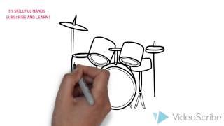 How to Draw a drums / Как нарисовать барабаны