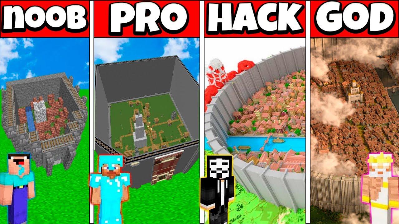 SHIGANSHINA WALL HOUSE BUILD CHALLENGE - NOOB vs PRO vs HACKER vs GOD Minecraft Animation