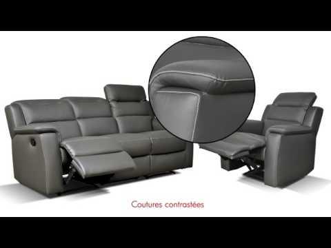 Salon relax SOFA en cuir de vachette - YouTube