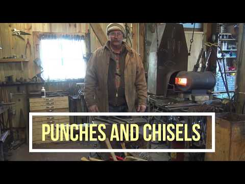 Blacksmithing tools, forging a hot chisel and round punch