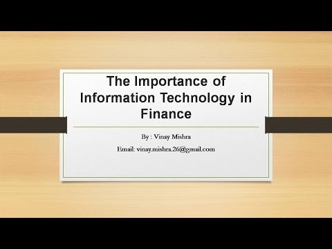 Importance of Information Technology  In Finance