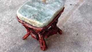 Crystal Stone Top Bamboo Wood Sticks Accent Stool Table Cs380
