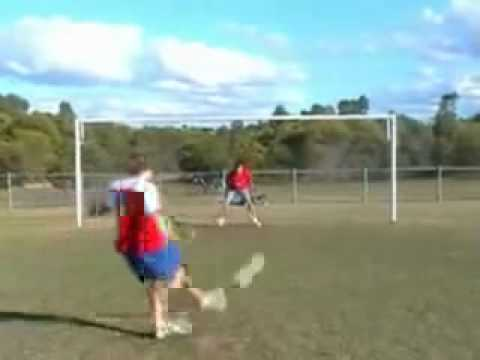 Soccer ball off post into face (Very Funny)