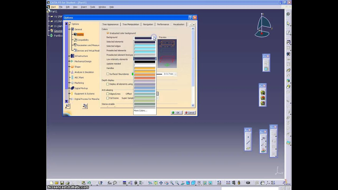 3 catia 101 basic to change the background colour
