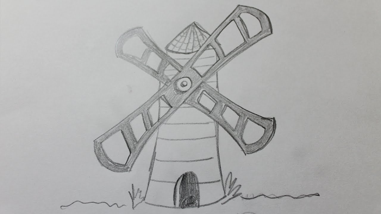 how to draw a windmill youtube