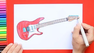 How to draw and color a guitar