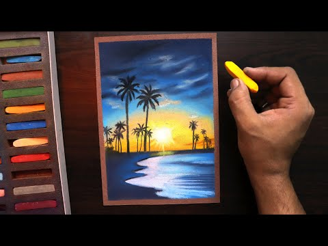 how-to-draw-sunset-nature-landscape-for-beginners-easy