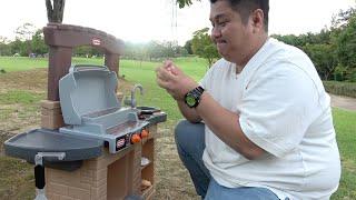 BBQ グリルのおもちゃでおりょうりごっこ!【こはるはるみおたいコラボ】Cooking with BBQ Grill Toy