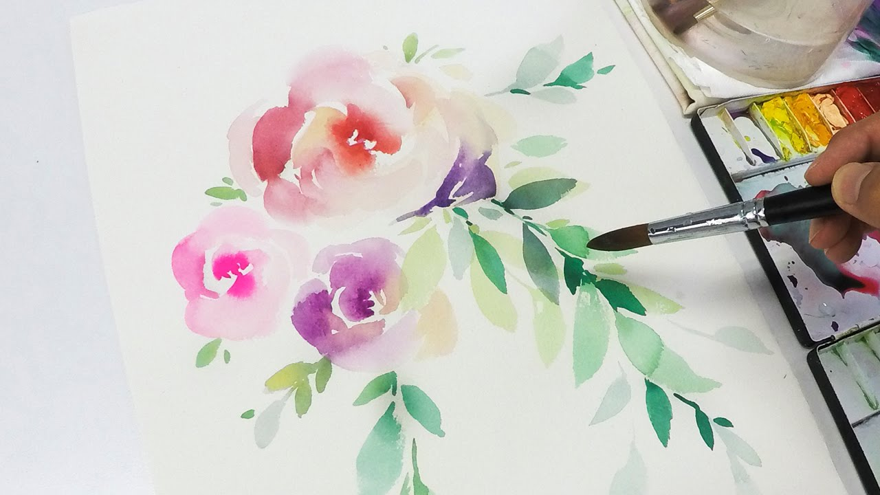 Lvl2 watercolor flowers tutorial step by step youtube for How to paint a rose in watercolor step by step