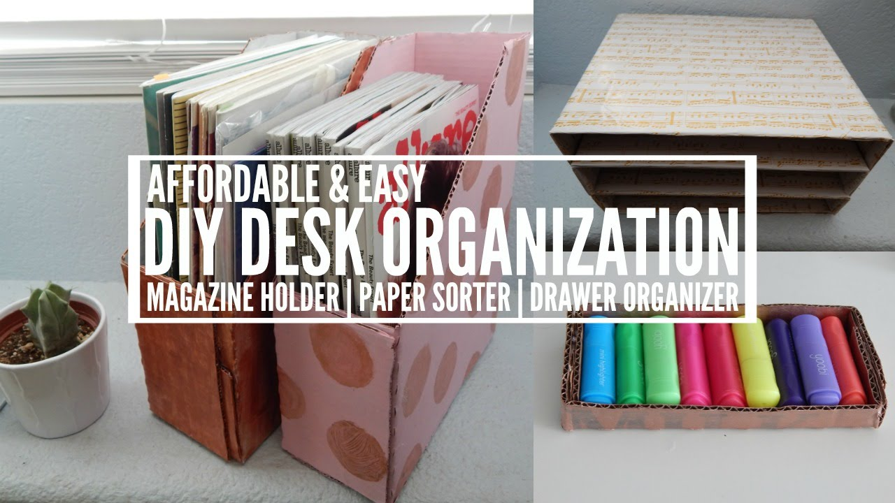 Diy magazine holder paper sorter drawer organizer for How to make a magazine holder from cardboard