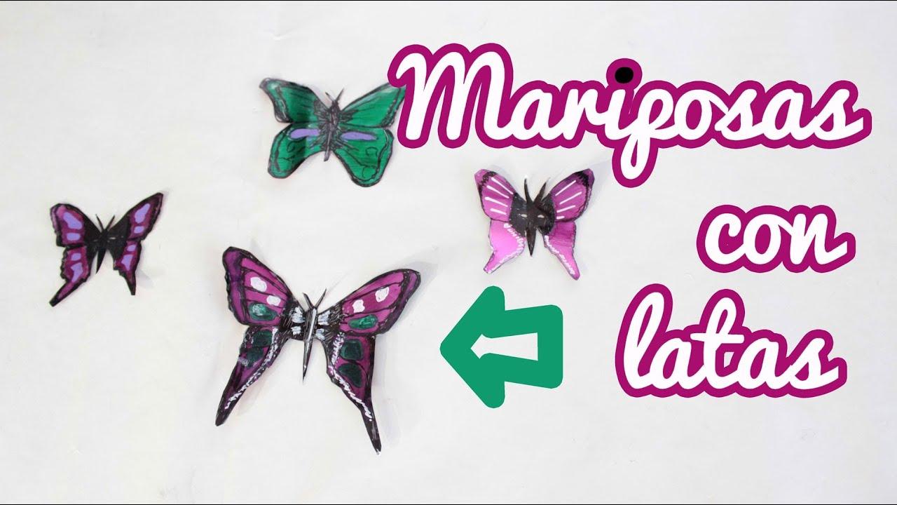 C mo hacer mariposas con latas manualidades f ciles youtube - Manualidades faciles con latas ...