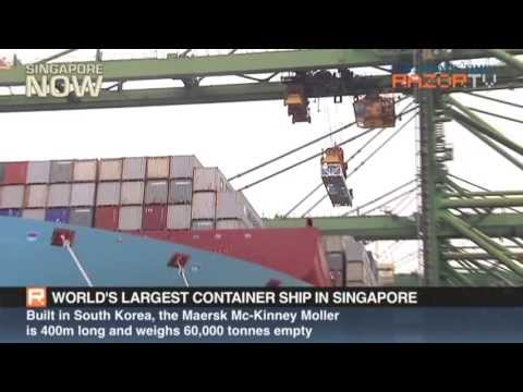 The world's largest container ship in Singapore