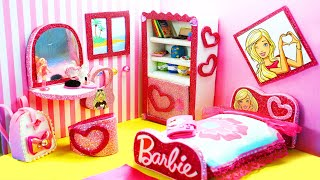 DIY Miniature Doll Bedroom for BARBIE Dolls  - How to Make a Miniature Room for Barbie Dolls
