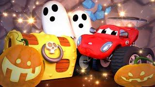 Monster Trucks for children - HALLOWEEN  The crystal cave  Monster Trucks Monster Town