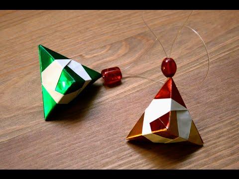 origami d coration de no l le diamant senbazuru youtube. Black Bedroom Furniture Sets. Home Design Ideas