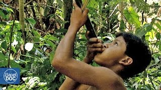 Tribe hunting in the amazon jungle