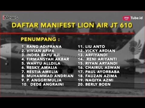 Daftar Nama Penumpang dan Kru Pesawat Lion Air JT 610 - iNews Sore 29/10