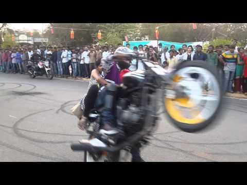 Motor Cycle Stunts At NIT Warangal Spree '14