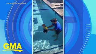 Bode and Morgan Miller teach son to swim after daughter's death l GMA