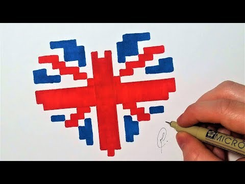 Drapeau Anglais Coeur Pixel Art Facile Youtube