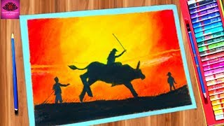 How to draw bull rider sunset scenery drawing easy step by step