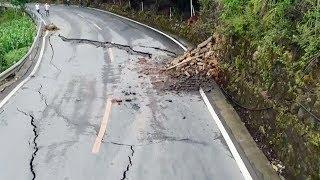 Landslide damages highway in southwest China