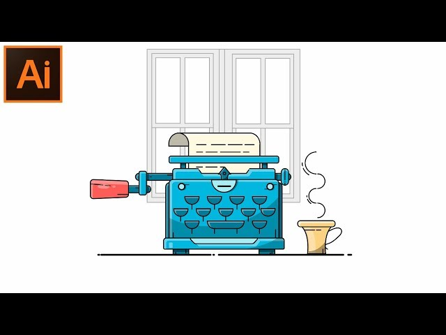 Vector Outline Illustration Adobe Illustrator CC tutorial