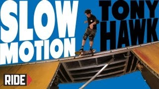Tony Hawk Skateboarding in Slow Motion - Shove-it Backside Smith Grind