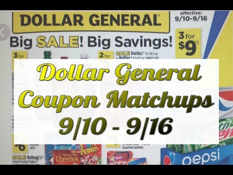 Dollar General Coupon Matchups 9/10-9/16   $1.95 Tide Simply ,Bounce and Downy